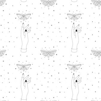 Motif ésotérique sans couture avec des mains de papillons célestes et un arrière-plan occulte étoilé magique de papillon mystique...