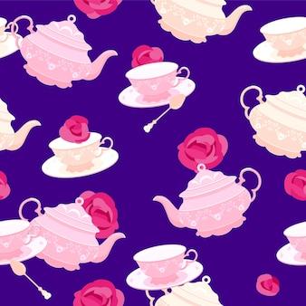 Le motif est transparent. tasse à thé et théière rose du 18ème siècle. dans le contexte des roses. illustration colorée dans un style plat.