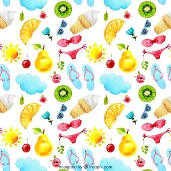Motif d'été avec des bikinis et des fruits
