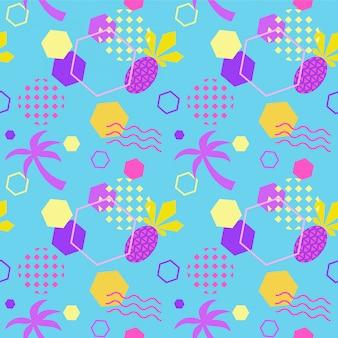 Motif d'été couleur transparente avec ananas et palmier