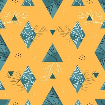 Motif d'été géométrique avec des triangles et des losanges. sur fond jaune.