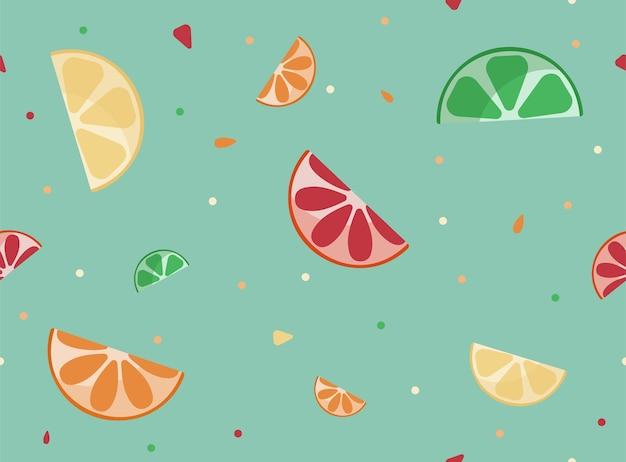 Un motif d'été lumineux avec des tranches d'agrumes de citron vert, de pamplemousse et d'orange