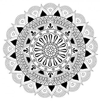 Motif ethnique rond floral en dessin au trait.