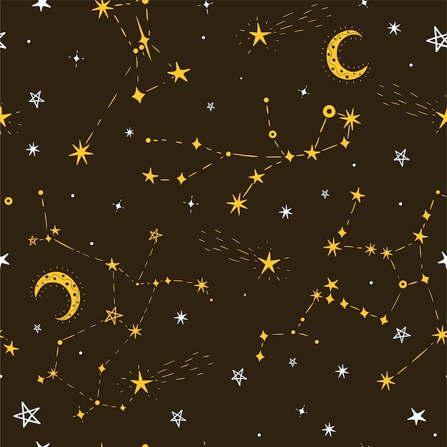 Motif d'étoile transparente avec la lune et les constellations.