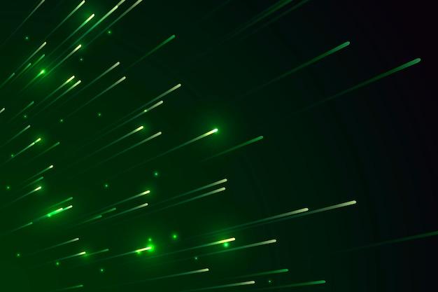 Motif d'étoiles filantes vert néon sur fond sombre