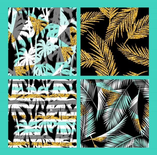 Motif exotique sans couture avec des plantes tropicales et une texture de paillettes d'or.