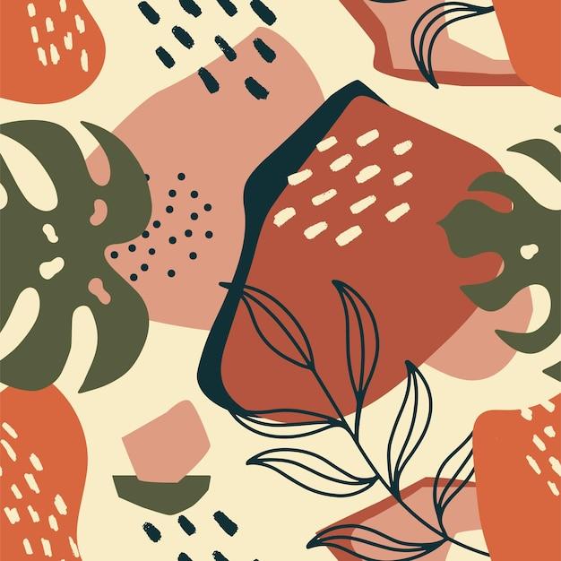 Motif exotique sans couture tendance avec feuille de palmier et éléments géométriques. illustration vectorielle