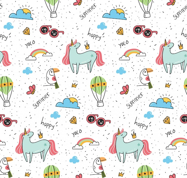 Motif fantaisie avec licorne et oiseau