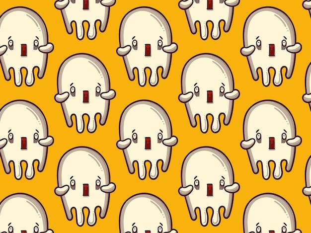 Motif fantôme effrayé, fond jaune
