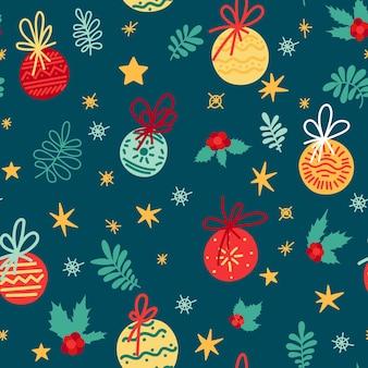 Motif festif avec éléments du nouvel an, décoration pour les vacances, cadeaux, jouets de noël.