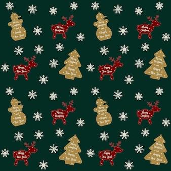 Motif festif pour les vacances de noël et du nouvel an. avec des flocons de neige, des cerfs, un bonhomme de neige et un sapin de noël. illustration vectorielle