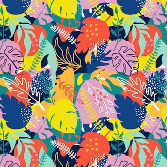Motif de feuilles abstraites colorées