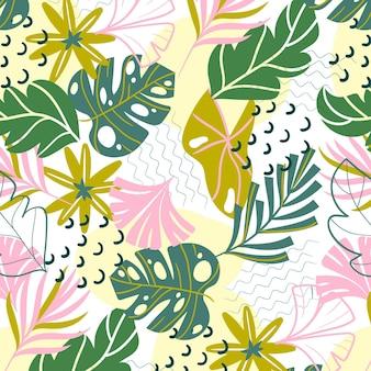 Motif de feuilles abstraites peintes à la main
