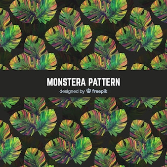 Motif de feuilles aquarelle monstera