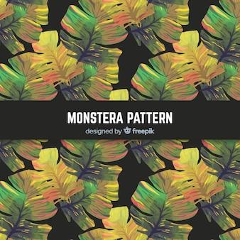 Motif de feuilles aquarelle monstera