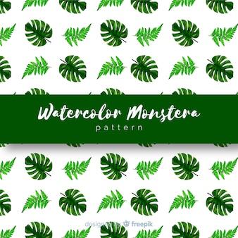 Motif de feuilles d'aquarelle monstera