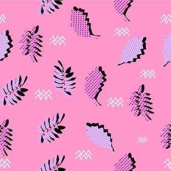Motif de feuilles d'automne géométrique de memphis girly