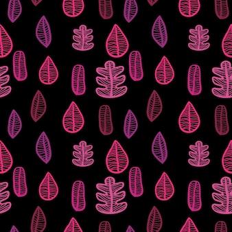 Motif de feuilles d'automne sans couture avec des couleurs roses
