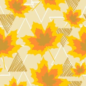 Motif de feuilles d'automne avec style dessiné main coloré
