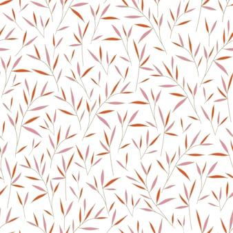 Motif de feuilles de bambou rose et orange sans soudure