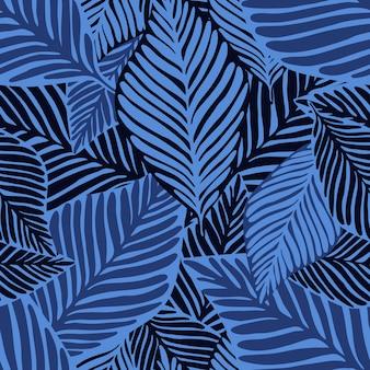 Motif de feuilles de bananier plante exotique dans les tons bleus