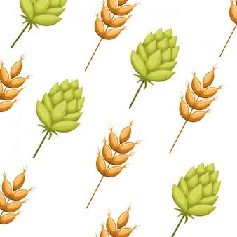 Motif feuilles de blé et icône isolé de pomme de pin