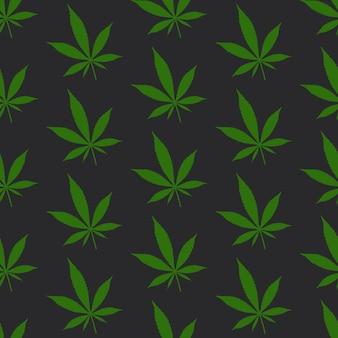 Motif de feuilles de cannabis sur fond noir de jais