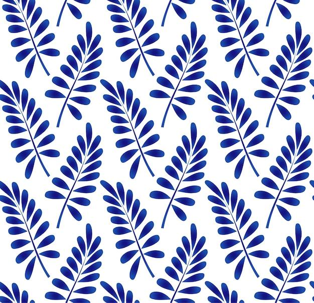 Motif de feuilles en céramique bleu et blanc
