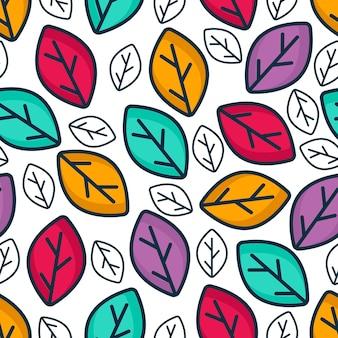 Motif de feuilles colorées