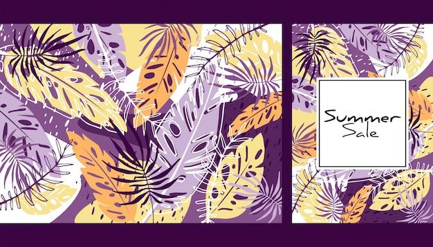 Motif feuilles de couleur tropicale