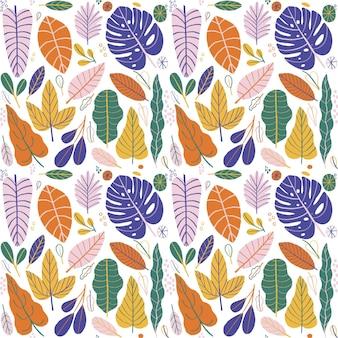 Motif de feuilles différentes colorées