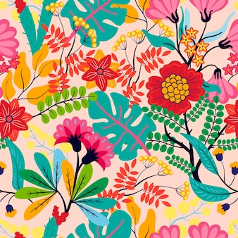 Motif de feuilles et de fleurs exotiques