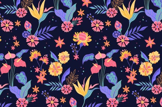 Motif de feuilles et de fleurs tropicales peintes à la main