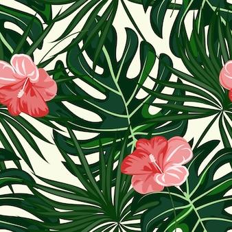 Motif feuilles et fleurs tropicales