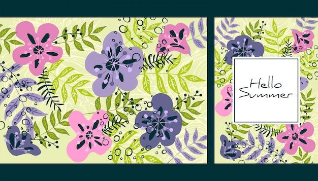 Motif feuilles et fleurs