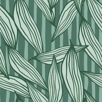 Motif de feuilles de ligne aléatoire d'été sur fond vert.