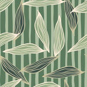 Motif de feuilles de lignes organiques aléatoires sur fond rayé.