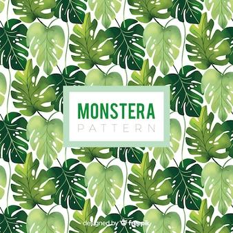 Motif de feuilles de monstera dessiné à la main