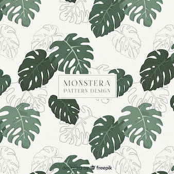 Motif feuilles monstera