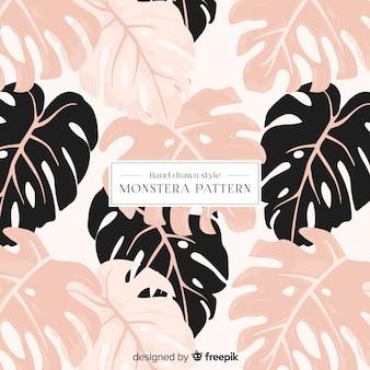 Motif feuilles monstera