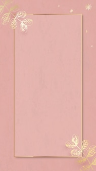 Motif de feuilles d'or avec cadre doré sur vecteur de papier peint rose pour téléphone portable