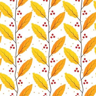 Motif de feuilles d'or et d'orange avec fond blanc