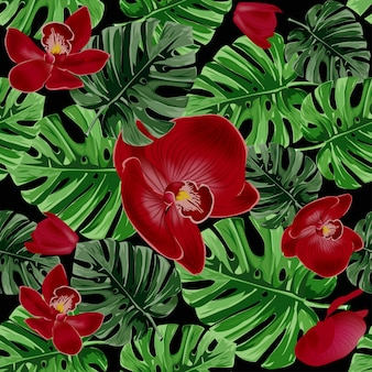 Motif de feuilles de palmier tropical et d'orchidées rouges.