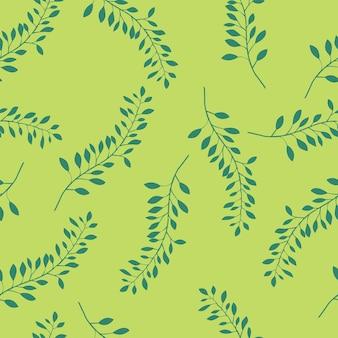 Motif de feuilles de plantes motif transparent vert avec des feuilles et des branches illustration vectorielle stock