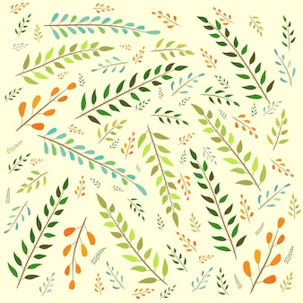 Motif de feuilles sans fin, fond jaune