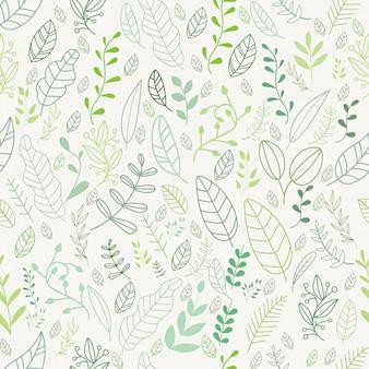 Motif de feuilles de vecteur dans le style de griffonnages