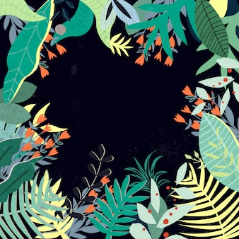 Motif de feuilles de verdure colorée