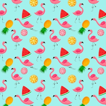 Motif flamant rose avec fruits