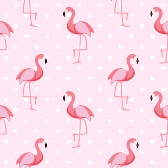 Motif Flamant Rose Sans Couture Vecteur Premium