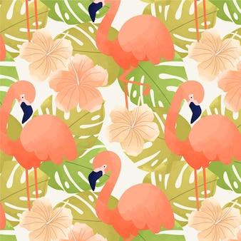 Motif de flamants roses avec des feuilles tropicales